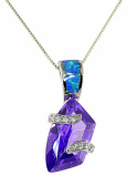 Sterling Silver Trapezoid-shape Simulated Amethyst and Created Opal Pendent Necklace