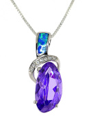 Sterling Silver Nugget-shape Simulated Amethyst and Created Opal Pendent Necklace