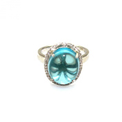 Jade Angel Sterling Silver Oval Dome Cut 12x14mm Created Blue Topaz Cubic Zircon Ring