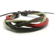 APECTO Jewellery Leather Brown & Red Ropes Braided Surfer Wrap Bracelet Handmade, SM22