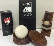 Men's Grooming Set with Wood Mug Shaving Bowl, Synthetic Brush,wood Brush Stand and 97% All Natural Gbs Ocean Driftwood Shave Soap