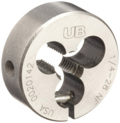 Union Butterfield 2010(UNF) Carbon Steel Round Threading Die, Uncoated (Bright) Finish, 2.5cm OD, 0.6cm -28 Thread Size