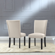 US Pride Furniture Sally Classic Upholstered Beige Fabric with Black Legs Dining Side Chair