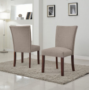 US Pride Furniture Sally Classic Upholstered Brown Fabric with Brown Legs Dining Side Chair