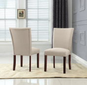 US Pride Furniture Sally Classic Upholstered Beige Fabric with Brown Legs Dining Side Chair
