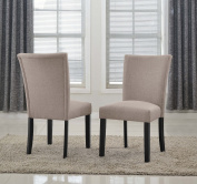 US Pride Furniture Sally Classic Upholstered Brown Fabric with Black Legs Dining Side Chair