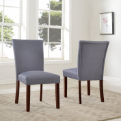 US Pride Furniture Sally Classic Upholstered Grey Fabric with Brown Legs Dining Side Chair