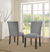 US Pride Furniture Sally Classic Upholstered Light Grey Fabric with Black Legs Dining Side Chair