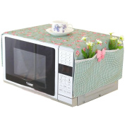 Country Style Microwave Oven Dustproof Cover Microwave Protector -Green