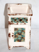 NEW DAISY FLOWERS SHADES OF BLUES & BROWN TOOTHBRUSH PEN HOLDER PLANTER