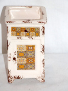 NEW ORNATE PATTERN SHADES OF GOLD & BROWNS TOOTHBRUSH PEN HOLDER PLANTER