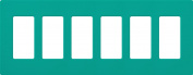 Lutron SC-6-TQ Satin Colours 6-Gang Wallplate, Turquoise