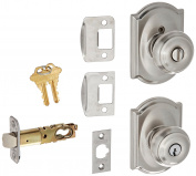 Camelot Collection Satin Nickel Georgian Keyed Entry Knob