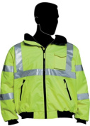 Liberty HiVizGard Polyester Class 3 Bomber Jacket with 5.1cm Wide Silver Reflective Stripes, 3X-Large, Lime Green