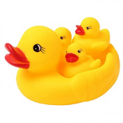 4Pcs Baby Bathing Developmental Toys Water Floating Squeaky Rubber Ducks^.