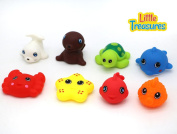 Baby Bath Toys for babies of age  .   the toy set is a collection of 8 sea animals in bright colours, could be easily stored in a net bag with tie