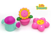 Little Treasures - water the flowers and the plant pot right in your tub, soft bath toys painted with smiling faces which make squeaky sounds, perfect for 19+ months