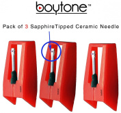 Boytone Pack of 3, Sapphire Tipped Ceramic Replacement Needle for Turntables