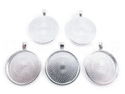 "20 CleverDelights Round Pendant Trays - Shimmering Silver Colour - 25mm 1"" Diameter - Pendant Blanks Cameo Bezel Cabochon Settings - 25 mm 1 Inch"
