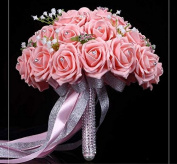 Hestian 25cm Pink Rose with Pearls , Stain Ribbon Handle Bridal Wedding Bouquet Silk Rose Hand Tie