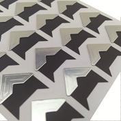 Chris-Wang 10 Sheets Silver DIY Scrapbook Album Photo Mounting Corners Sticker Self-Adhesive Embossed Cardstock