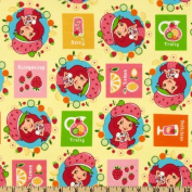 110cm Wide Strawberry Shortcake Fruit Yellow Fabric By The Yard