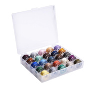 eBoot Bobbin Case Organiser with 25 Clear Sewing Machine Bobbins and Assorted Colours Sewing Thread for Brother Sewing Machine