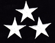 STARS, WHITE 3.2cm STARS (3 Pc)-Iron On Embroidered Applique/Astrology