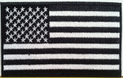 American Flag Embroidered Patch USA United States of America Military Tactical Uniform Emblem White & Black Version