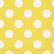 Yellow Polka Dot Beverage Napkins, 16ct