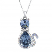 EleQueen Women's Silver-tone Pendant Necklace Cute Kitty Adorned with ® Crystals