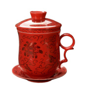 ufengke®4-piece dehua ceramic tea cup with filter, saucer, and lid-red and chrysanthemum pattern