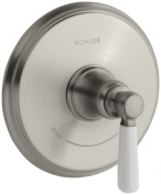 KOHLER K-T10593-4P-BN Bancroft Thermostatic Trim with White Ceramic Lever Handle, Valve Not Included, Vibrant Brushed Ni