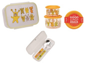 Sugarbooger Divided Lunch Box, (2) Small Storage Containers, and Silverware- Hungry Monsters