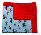 Planes and Trains Printed Minky Dot Baby Blanket