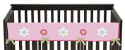 Sweet Jojo Designs Pink and Green Flower Long Front Rail Guard Baby Teething Cover Crib Protector Wrap