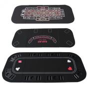 3-1 Folding Poker & Casino Table Top Blackjack & Roulette Black