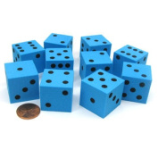 Set of 10 D6 Large 25mm Foam Dice - Blue with Black Spots