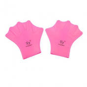 2 Pcs Soft Silicone Swimming Diving Hand Webbed Gloves Hot Pink