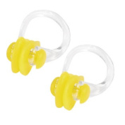 Outdoors Swim Training Learning Swiming Nose Clip Yellow Clear 2 Pcs