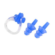 Water Sports Swim Swimming Soft Silicone Nose Clip Ear Plug Blue