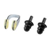 Set Clear Grey Swim Nose Clip Black Silicone Ear Plugs w Plastic Storage Case