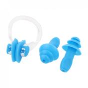 Water Sports Swim Swimming Soft Nose Clip Ear Plug Earplug Blue 3 in 1