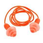 Silicone Swim Swimming Ear Plugs Orange Waterproof Earplugs w String