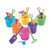 24 Sand Pail Beach Play Sets, small 8.3cm Bucket w/Rake, Scoop and Shovel- 24 sets