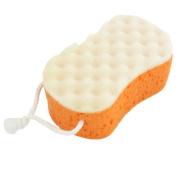 Bathing Shower Soft Sponge Pouffe Body Scrubber Loop Orange Beige
