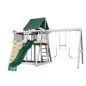 Congo Monkey Playsystem #1 with Swing Beam - White and Sand With GREEN Accessories