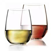 Unbreakable Wine Glasses Stemless - Dishwasher Safe - 100% Tritan Premium Plastic 470ml, Set of 4 by fullerLIFE