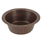 Premier Copper Products 30cm Round Hammered Copper Bar Sink with 5.1cm Drain Opening
