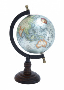 Plutus Brands Beautiful Metal Wood Globe with Wooden Axis